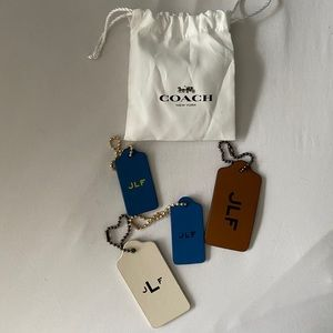 Coach leather tags monogrammed with JLF